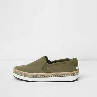 River Island Khaki green espadrille trim slip on plimsolls