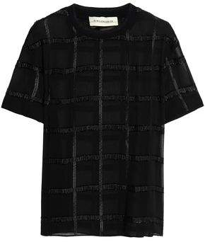 By Malene Birger Opheelia Checked Fil Coupé Georgette T-Shirt