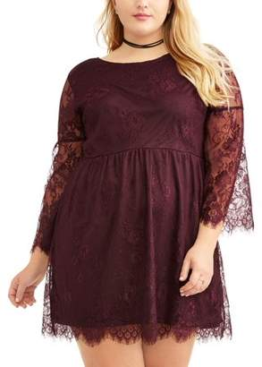 No Comment Juniors' Plus Lace Bell Sleeve Dress with Tie Back