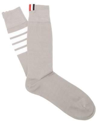 Thom Browne Striped Cotton Socks - Mens - Light Grey
