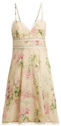 Zimmermann Iris Floral Print Linen Blend Dress - Womens - Cream Multi