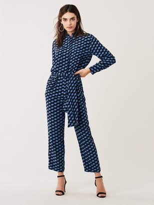 Diane von Furstenberg Leone Belted Silk Crepe de Chine Jumpsuit