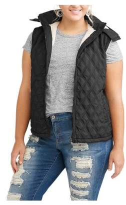 BESTOW Women's Plus-Size Sherpa Lined Quilted Hooded Vest