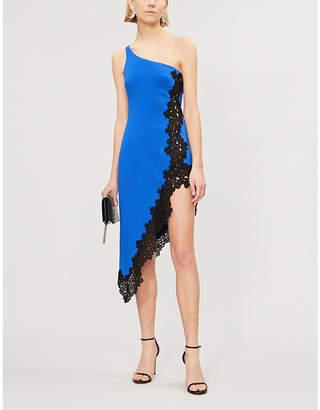 David Koma Asymmetric crepe and lace dress