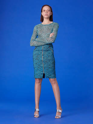 Diane von Furstenberg Long-Sleeve Fitted Mesh T-Shirt