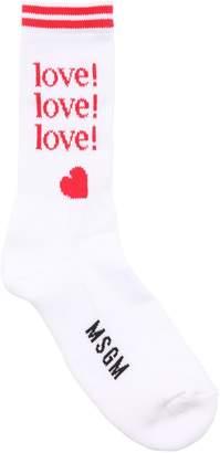 MSGM LOVE & LOGO COTTON SOCKS