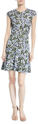 Erdem Carlina Floral Cap-Sleeve Dress
