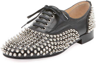 Christian Louboutin Freddy Spikes Red Sole Saddle Oxford Shoes