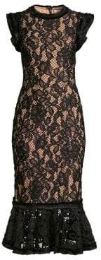 Alexis Lace Midi Ruffle Sheath Dress
