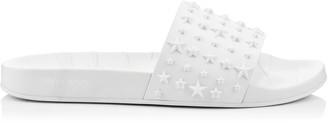 Jimmy Choo REY/M White Star Embossed Rubber Slides