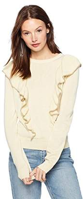 Cable Stitch Women's Ruffle Front Pullover Sweater