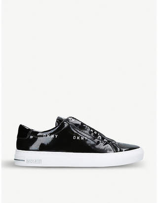 DKNY Conner logo-detail patent leather trainers
