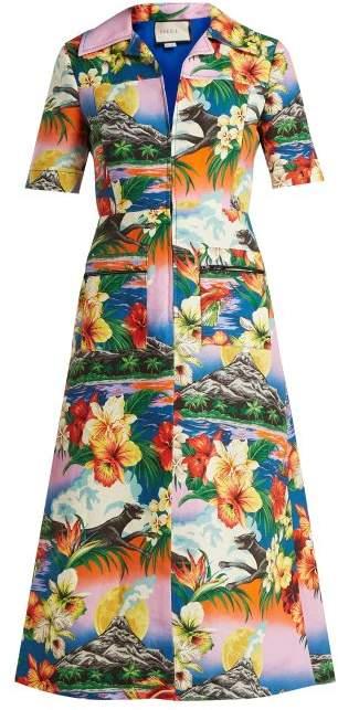 Hawaiian-print collared linen midi-dress