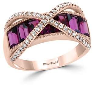 Bloomingdale's Garnet & Diamond Crossover Ring in 14K Rose Gold - 100% Exclusive