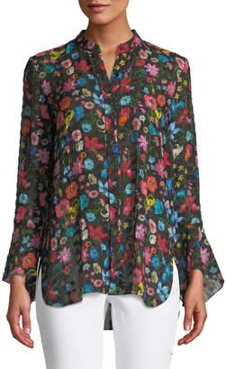 Elie Tahari Chava Floral-Print Silk Blouse