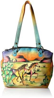 Anuschka ANNA by  Anna Hand Painted Leather Triple Compartment Tote Arizona Mustang