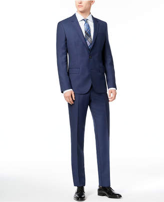 HUGO BOSS HUGO Men's Slim-Fit Blue Birdseye Suit
