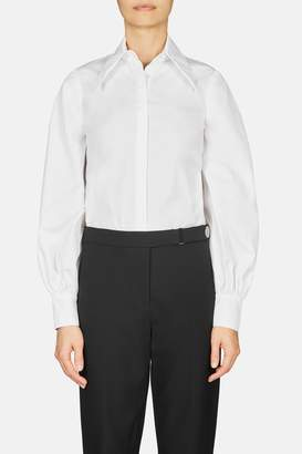 Erdem Eula Long Sleeve Shirt With Hidden Placket And Pointed Collar - White