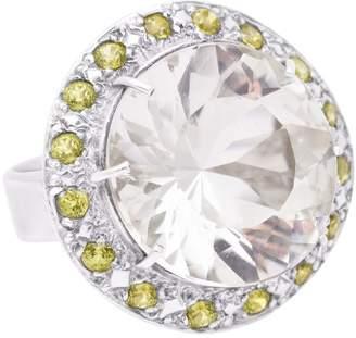 Sarah Kosta - Bali White Amethyst & Peridots Ring In Sterling Silver