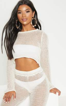 PrettyLittleThing Cream Open Knit Cropped Jumper