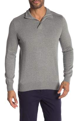 Perry Ellis Twill Quarter Zip Sweater