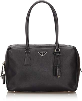 Prada Pre-Loved Black Others Leather Saffiano Bauletto Handbag Italy