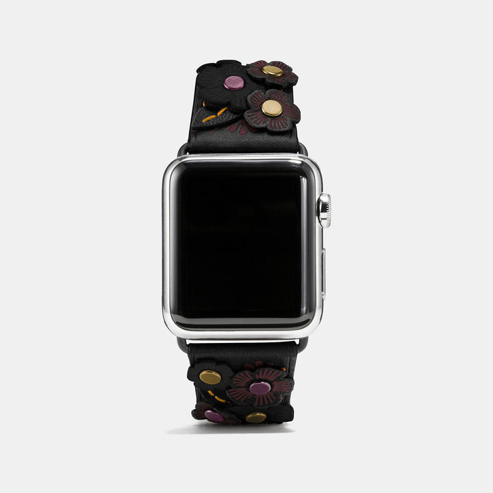 Coach   COACH Coach Apple Watch Tea Rose Applique Leather Strap