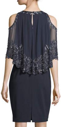 Aidan Mattox Embellished Capelet Short-Sleeve Dress