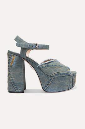 7a2618b299cd Miu Miu Denim Platform Sandals - Mid denim