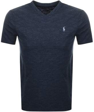 V Neck Custom Slim T Shirt Blue