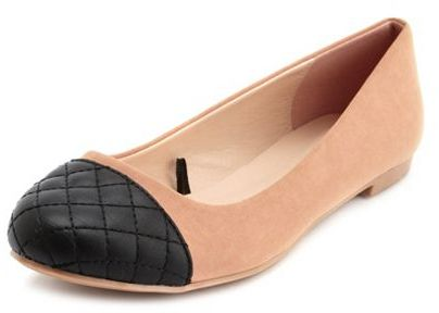 Charlotte Russe Quilted Toe Nubuck Ballet Flat