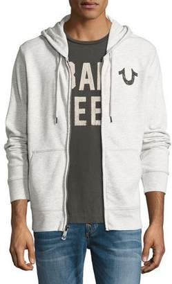 True Religion Front-Zip Horseshoe Hoodie, Gray