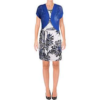 Robbie Bee Women's Petite Printed Prada Jacket Dress with Royal Shrug
