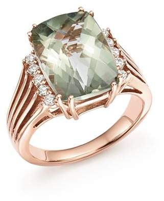 Bloomingdale's Green Amethyst and Diamond Statement Ring in 14K Rose Gold - 100% Exclusive