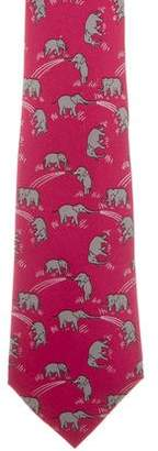 Hermes Silk Elephant Print Tie