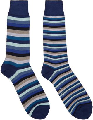 Paul Smith Blue Odd Stripe Socks $30 thestylecure.com