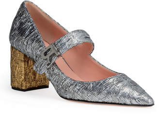 abb12ae9187 Rochas Silver brocade 60 pointed pumps