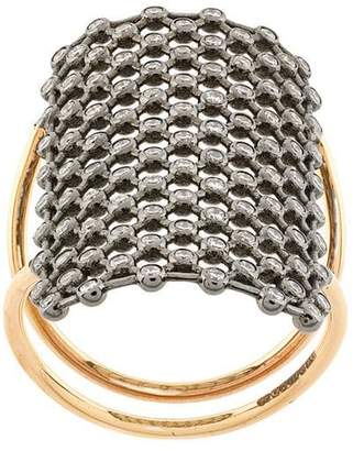 Diane Kordas crystal embellished net pattern ring