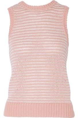 J Brand Garey Striped Crochet-Knit Cotton-Blend Tank