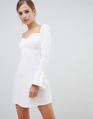 Asos Design DESIGN sweetheart mini dress with fluted sleeve