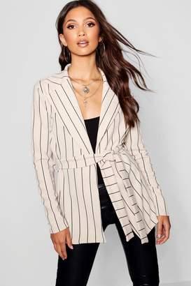 boohoo Belted Stripe Kimono Jacket