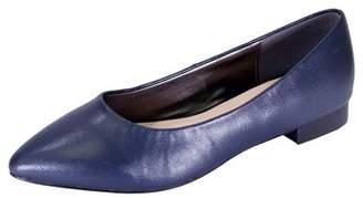 Tasha Peerage PEERAGE Women Wide Width Classic Pointed Toe Leather Casual or Dress Flat with Stack Heel BROWN 9