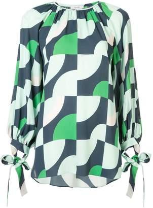 LAYEUR geometric long-sleeve blouse