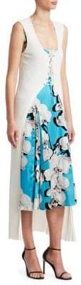 Roberto Cavalli Women's Orchid Print Dress with Knit Cardigan - Blue White - Size 40 (4)