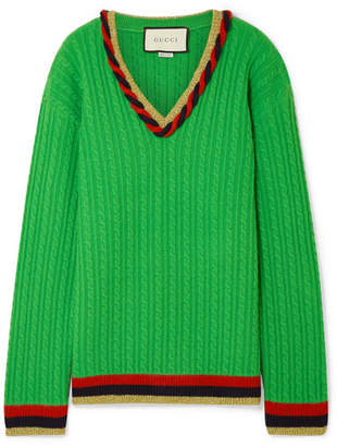 Gucci Lurex-trimmed Cable-knit Wool And Cashmere-blend Sweater - Green