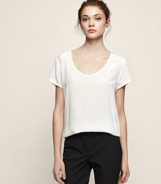 Reiss CAM Silk-front top Off White