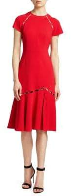 Jonathan Simkhai Women's Cut-out Flounce Hem Sheath Dress - Red - Size 2