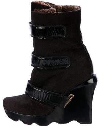 Louis Vuitton Ponyhair Platform Ankle Boots