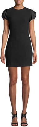 Michael Kors Satin Bow-Sleeve Boucle Crepe Mini Dress