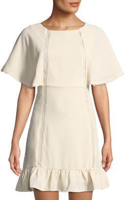 Moon River Extended-Sleeve Ruffle-Hem Dress w/ Back Ties